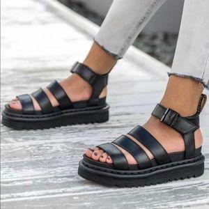 DR MARTENS BLAIRE Gladiator Black Sandal Size: 11